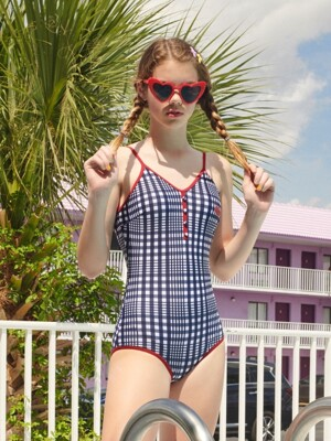 (OP-19374) CHECK ONEPIECE SWIMSUIT NAVY