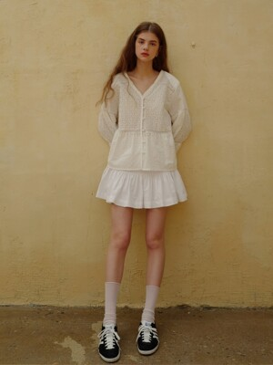 Smocking mini skirt_White