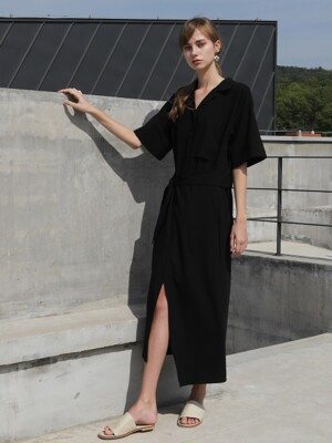Wrap skirt One-piece_Black