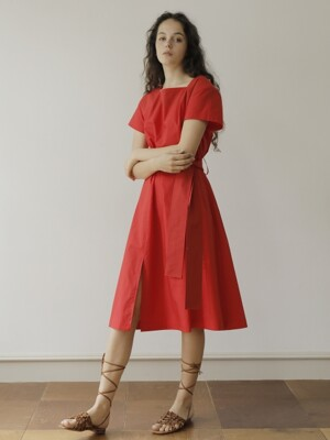 19SS SQUARE NECK COTTON DRESS /RED