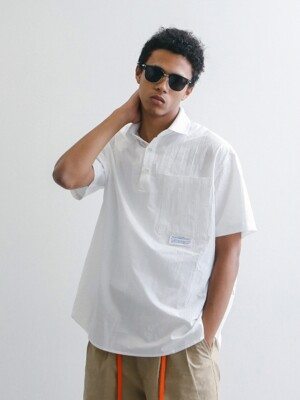 LOBBY BOY OVERSIZED 1/2 PIQUE SHIRT (WHITE)