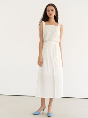 Belted stripe skirt - White