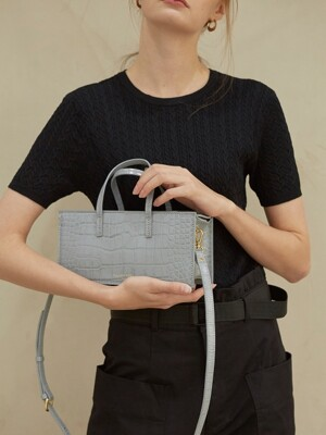 Lago mini bag - croc cool grey