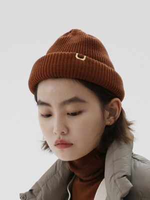 DOUBLE ROLL UP BEANIE / AC / ORIGIN BROWN