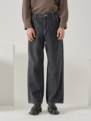 wave stitch wide pants (charcoal)
