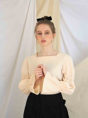 Ailish ribbon blouse (apricot)