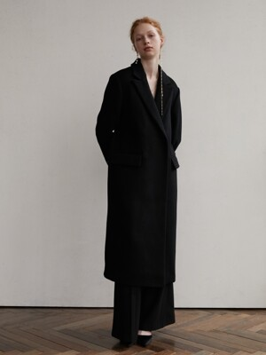Panel wool coat - Black