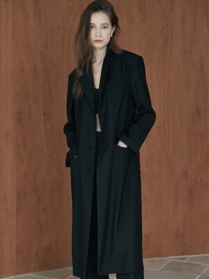 ouie211 cut detailed long jacket (black)