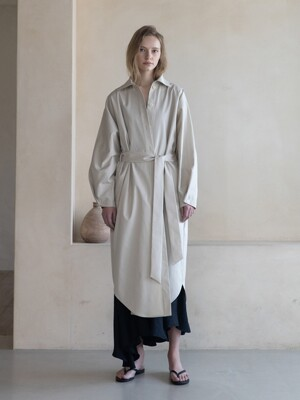 Trench Belted Shirts Long Dress_Ivory Beige