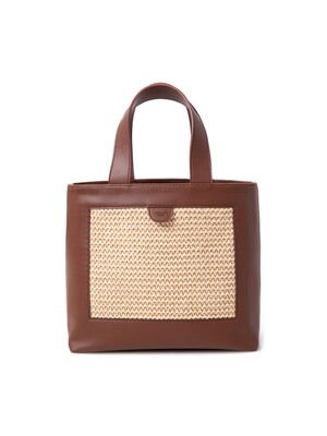 GEO TOTE BAG_BROWN