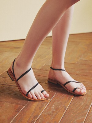 SIMPLE BRAIDED SANDALS_BLACK
