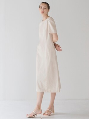 Puff Sleeve Line dress - Beige