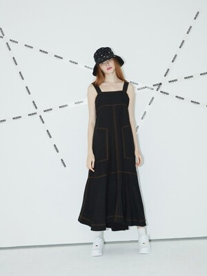 Long suspender dress 005 Black