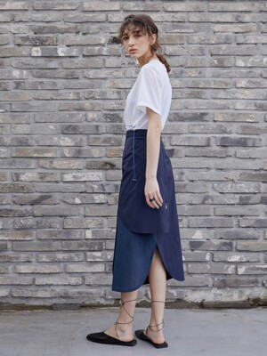Cool pleats wrap skirt ; navy