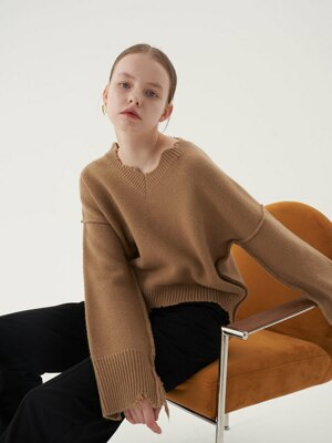 20' Fall_Beige Lamb's Wool Vintage Sweater