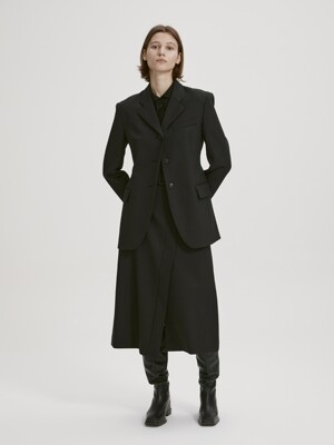 STRUCTURED WOOL BLAZER (BLACK)