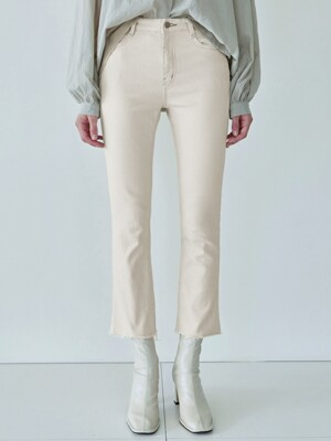 CUTTING BOOTCUT COTTON PANTS_OATMEAL