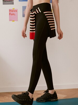 (LS-20564) DETACHABLE STRIPE KNIT TIED-UP LEGGINGS BLACK