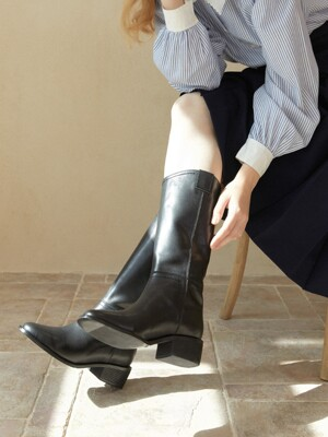 mouth long boots - black