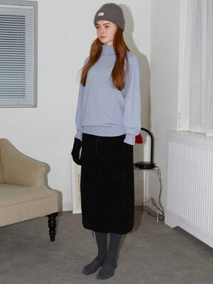 FLEECE POCKET SKIRT - BLACK