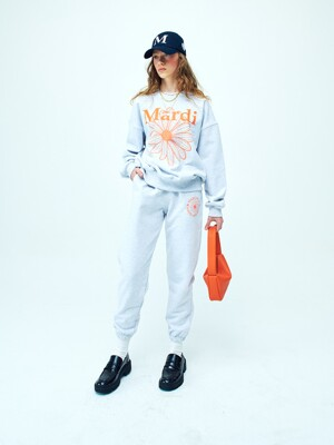 SWEAT PANTS MARCHE EMBLEM HEATHER-ORANGE