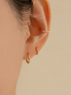 14k gold simple round onetouch ring earring (14k 골드) a01