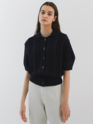 Rei Mesh Short Sleeves Knit_Navy