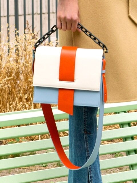AGNES COLOR BLOCK CHAIN BAG aaa057w (Orange/Ivory)