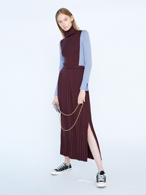 KAREN Knit Pleated Long Skirt