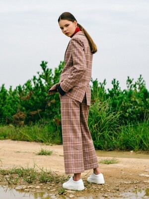 Pink Glen Check Wide WOOL Set-up Pants