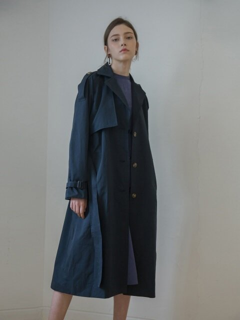 SINGLE BELTED TRENCH COAT_NAVY