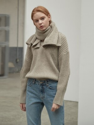 Two way wool pullover [muffler set] [BE]