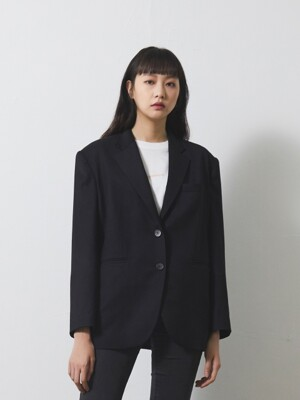 BOYFRIEND WOOL BLAZER / BLACK