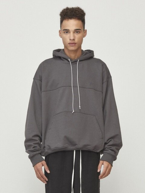 Oversized String Hoodie Charcoal