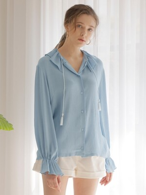 SHIRRING COLLAR BLOUSE_BLUE