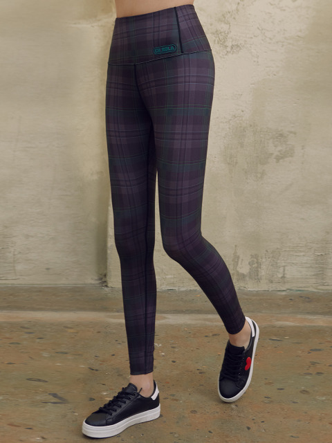 (LS-19165) CHECK LEGGINGS DEEP GREEN