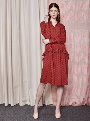 Shirts style frill Dress_Red