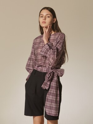 long strap check blouse (silk blended)