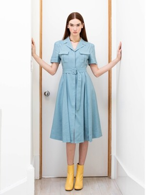 LES notched collar front pocket shirt dress (Steel blue)