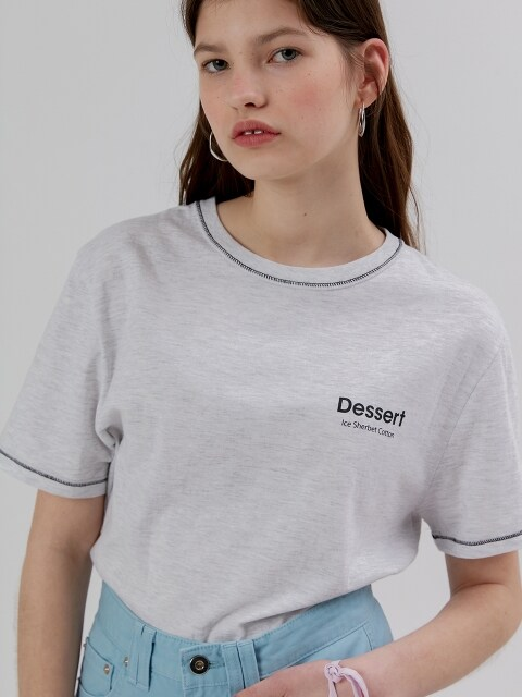 Dessert Stitch Half T Shirt [Grey]