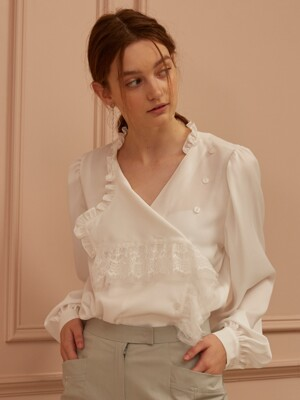Lace-Trimmed Wrap-Effect Blouse