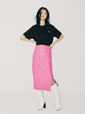 Crinkled Pencil Skirt Pink