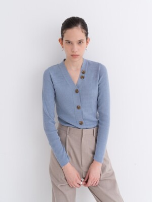 DAILY BUTTON GOLGI CASHMERE CARDIGAN SKYBLUE