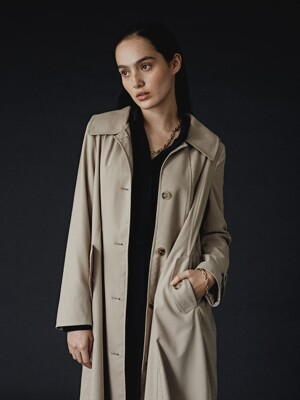 BEIGE CHARLOTTE SHIRRING TWO-WAY TRENCH