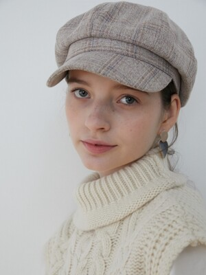 Check newsboy cap_Ash Grey
