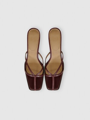 STRAPPY HEELED MULES (BURGUNDY)