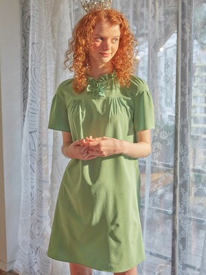 Button Point Mini Dress_ Green