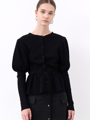 20SS PUFF-SLEEVE KNIT CARDIGAN (BLACK)