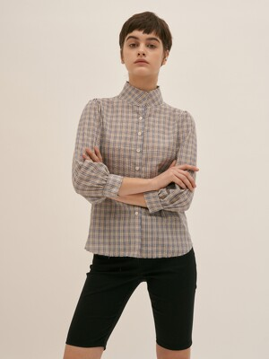 High Neck Check Blouse