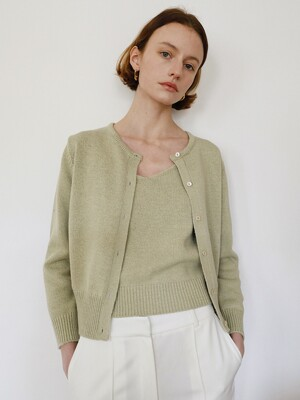 Cote knit Cardigan Set in Olive